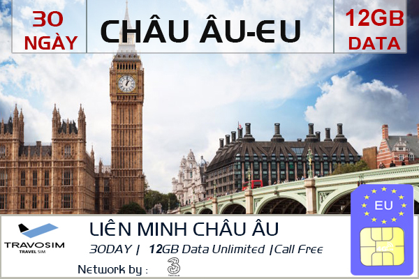 Mua Sim 4G Châu Âu tại Việt Nam 12 gb
